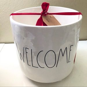 Rae Dunn Welcome Large Footed Planter
